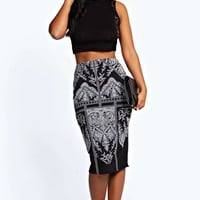 Emily Raised Print Midi Skirt