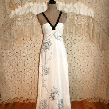 White Maxi Dress Long Halter Dress Boho Beach Dress Hippie Prom Dress Bohemian Embroidered Anthropologie Size 8 Dress Medium Womens Clothing