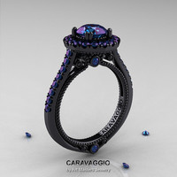 Caravaggio 14K Black Gold 1.0 Ct Russian Alexandrite Engagement Ring, Wedding Ring R621-14KBGAL
