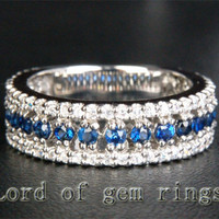 Round Blue Sapphire/Diamond Wedding Band Eternity Anniversary Ring 14k White Gold 1.10ctw