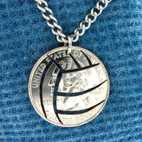 Volleyball Quarter hand cut coin by NameCoins on Etsy