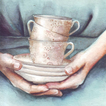 HM083 Original art watercolor painting woman and teacups by Helga McLeod