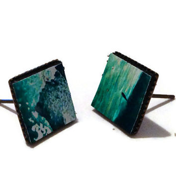 Emerald ombre Leather Stud Earrings Green Leather by MullaneInk