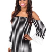 My Party Black And White Striped Dress | Monday Dress Boutique