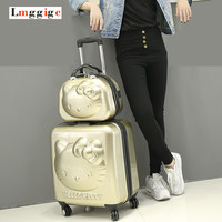 """18""""inch Hello Kitty Suitcase Sets,Children Women's KT Luggage,High Quality ABS Trolley ,Lovely cartoon Travel case,Cosmetic Box"""