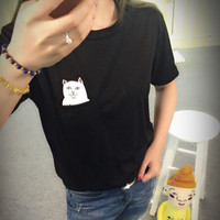 Middle Finger Pocket Cat Tee