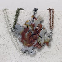Puzzle Necklace  Best Friend Jewelry Set of 4 Metallic Mix
