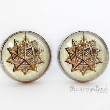 Da Vinci design stud earrings, steampunk vintage jewelry by The Neverland