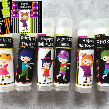 Halloween Party Favors - Set of 6 - Halloween Lip Balm - Halloween Birthday Favors - Zombie Party - Walking Dead Party -Free Customization