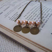Antique Gold Bar Necklace with Peach Freshwater Pearls and Dangling Metal Discs - Handmade Necklace - Minimalist Necklace