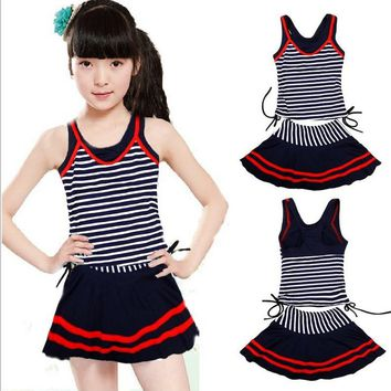 New 2018 Navy Style Swimsuits For Girls Striped Female 2 pieces Swim Suit Teenagers Kids Bathing Suits Girl Bodysuit Beach Wear
