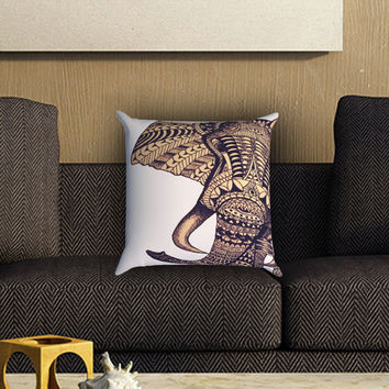 Elephant Aztec Pillow Cover , Custom Zippered Pillow Case One Side Two SIde