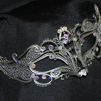 Petite Metallic Rhinestone Masquerade Mask with Purple Accents