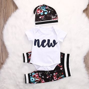 Cute Infant Baby Girl Clothing Set Tops Bodysuits Short Sleeve Pants Flower Hat 3pcs Baby Girls Clothes Outfits Set