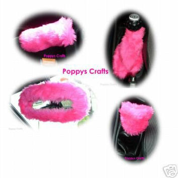 Barbie Pink car accessories set Gear knob gaiter mirror handbrake covers faux fur furry fuzzy fluffy girly girl cute car cerise love