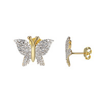 Butterfly Style Earrings 14k Gold Over Sterling Silver Simulated Diamond 11mm
