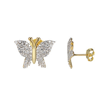 Butterfly Style Earrings 14k Gold Over Sterling Silver Simulated 24409d93c255