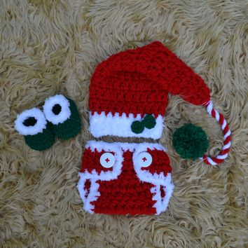 Baby Christmas Outfit Newborn Photo Prop Hat Diaper Cover Booties Set