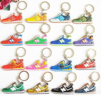 Cute Mini Silicone New Balanceer 574 Key Chain Woman Kids Key Rings Gifts Sneaker Key