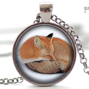 Sleeping Fox Pendant, Fox Necklace, Red Fox Charm, Sleeping Fox Jewelry (1306)