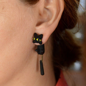 Black cat, earring. Select 1 earring or a pair (2 in ''quantity)