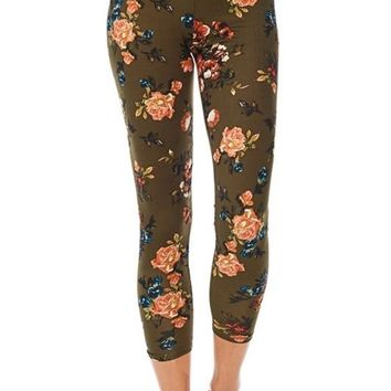 Reborn J Floral Above Ankle Short Leggings - Olive