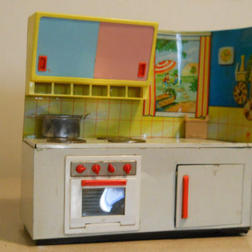 Fuchs Tin Toy Kitchen / West German Litho Stove Vintage 50s