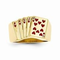14k Yellow Gold Enameled Royal Flush in Hearts Mens Ring