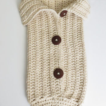 Crochet Cocoon Pattern - Newborn Photo Prop - Chunky Button Cocoon