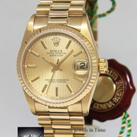Rolex Datejust President 18k Gold Champagne Tapestry 31mm Watch Box/Papers 68278