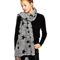 Grey Star Print Tassel Fringed Long Scarf