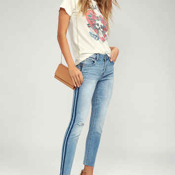 Audrey Medium Wash Distressed Skinny Jeans