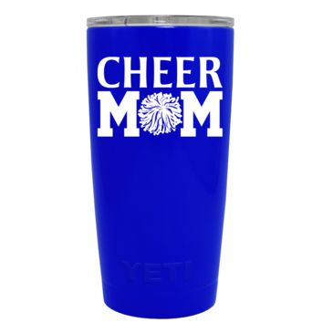 YETI 20 oz Cheer Mom Pom Pom on Blue Gloss Rambler Tumbler