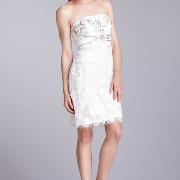 Sue Wong - Strapless Embroidered Cocktail Dress N1216