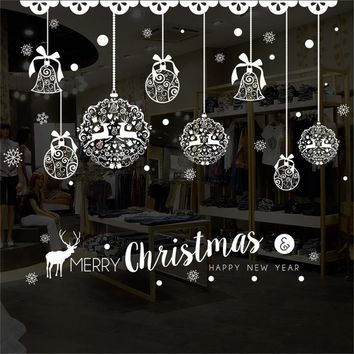 Window Sticker New Year Merry Christmas Household Room Wall Sticker Mural Decor Decal Removable For Home Enfeites De Natal &