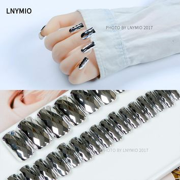 Silver Solid Diamond fake nails long metal nail tips 24Pcs