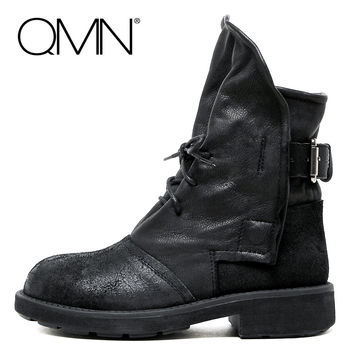 QMN women genuine leather ankle boots Women Military Boots Shoes Woman Winter Boots Ladies Black Bootie Botas Size 34-40