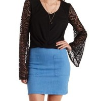 Black Knotted Lace Bell Sleeve Top by Charlotte Russe