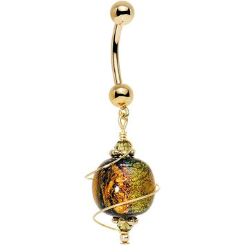 14kt Gold Autumn Dichroic Belly Ring Created with Swarovski Crystals