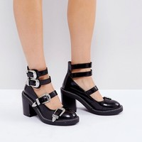 ASOS OH GOSH! Multi Buckle Heeled Shoes at asos.com