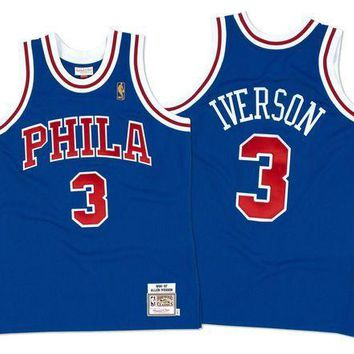 ESB8UH Mitchell & Ness Allen Iverson 1996-97 Authentic Jersey Philadelphia 76ers In Blue