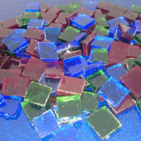 "Mosaic Tiles - Red Blue Green Assorted Stained Glass - Hand Cut Square - 1/2"" / 1cm"