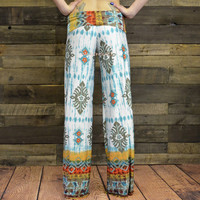 Blurred Color Teal  Palazzo Pants