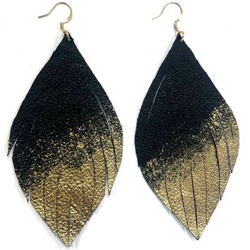 Gold Dipped Leather Earring