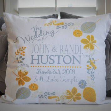 Wedding Pillow Cover, Customized wedding pillow cover, Anniversary Pillow Cover