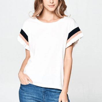 Women's Knit Top with Banded Ruffled Short Sleeves