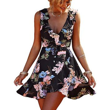Ruffles Sexy V Neck Women Mini Dresses Floral Print Boho Sleeveless Short Dress Beach Wrap Vestidos