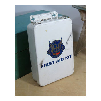 First Aid Kit Metal Case City of Phoenix . Emergency Box . Full of Vintage Supplies . Swift . American White Cross . Merthiolate Swabs