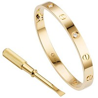 Cartier men and women trend multicolored diamond bracelets Gold White Diamond