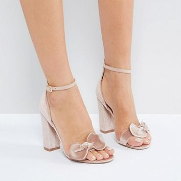 London Rebel Bow Trim Block Heel Sandal at asos.com